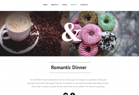 landing page Coffee and donuts